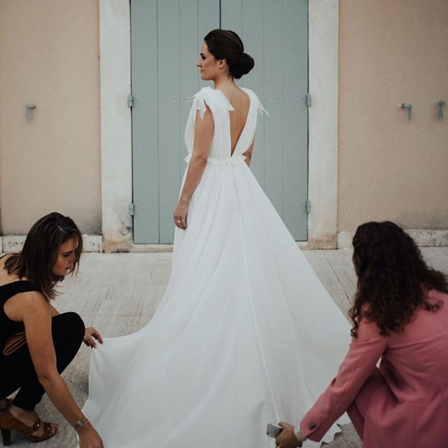 Robe unique Constance Fournier en mousseline de soie